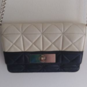 Tiny Vintage Kate Spade bag black & cream leather